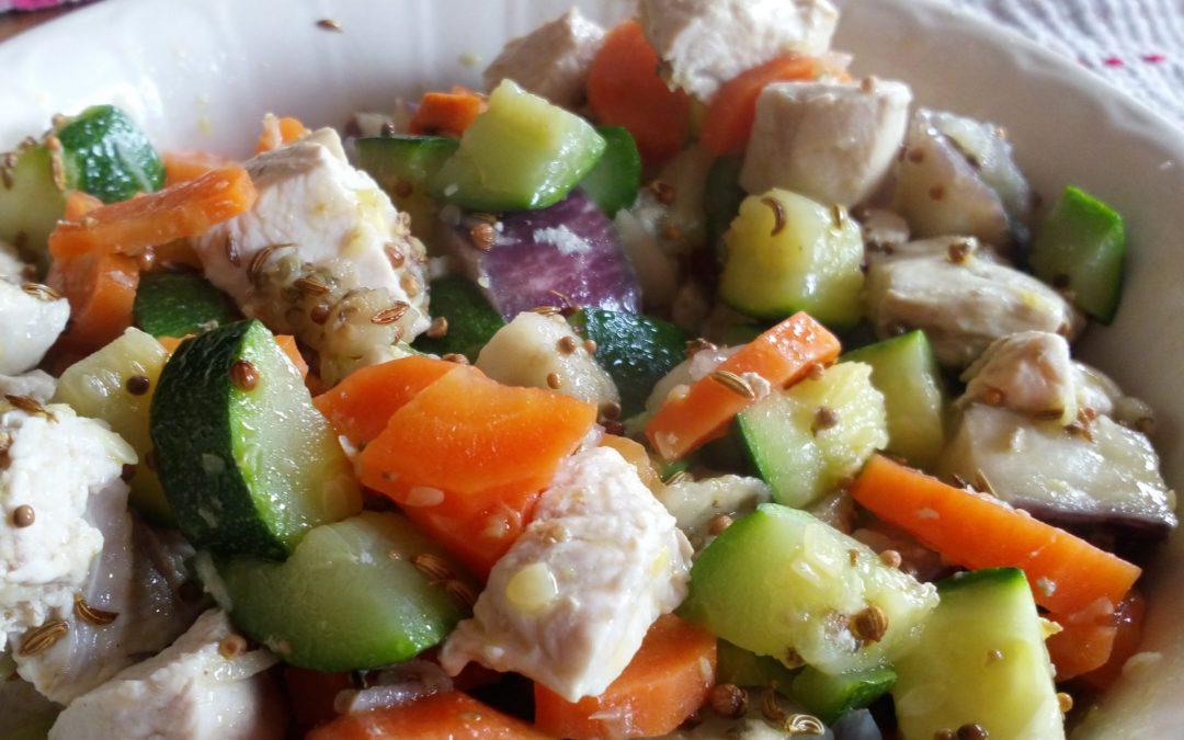 Filet de dinde épicé aux petits légumes