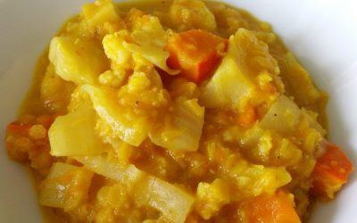 Curry de légumes, lentilles corail